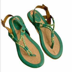 Born on concept Braid T-strap buckle sandal